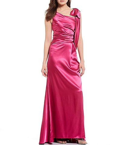 Eliza J Stretch Satin Bow Shoulder Ruch Detail Gown