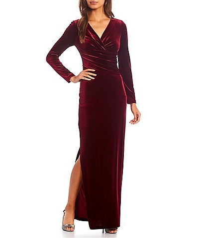 Eliza J Surplice V-Neck Long Sleeve Ruched Velvet Long Gown
