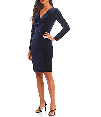 Eliza J Surplice V-Neck Long Sleeve Velvet Sheath Dress
