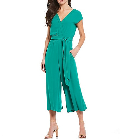 Eliza J Surplice V-Neck Short Sleeve Pleated Tie Waist Cropped Crepe Jumpsuit