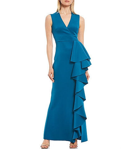 Eliza J Techno Knit Cascading Front Mermaid Gown