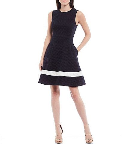 Eliza J Textured Knit Jewel Neck Sleeveless Stripe Fit & Flare Dress