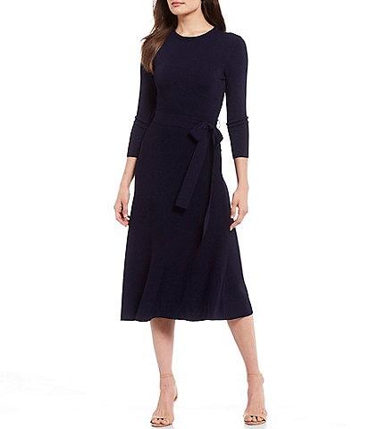 Eliza J Tie Waist 3/4 Sleeve A-Line Midi Dress