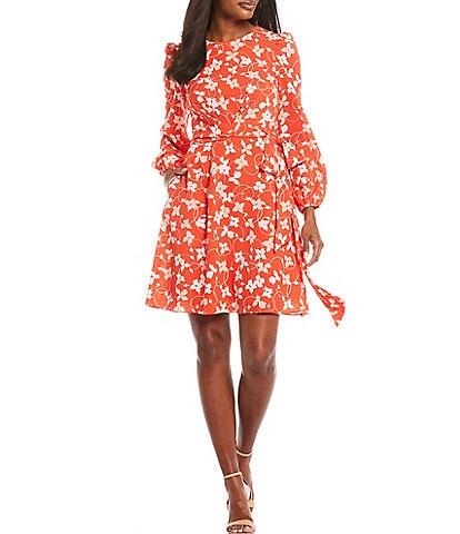 Eliza J Tie Waist Floral Print Crepe Dress