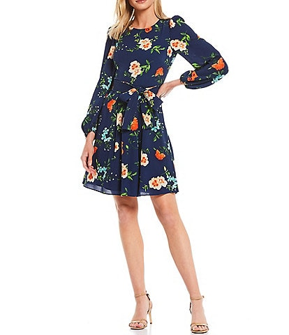 Eliza J Tie Waist Floral Print Pebble Crepe Dress