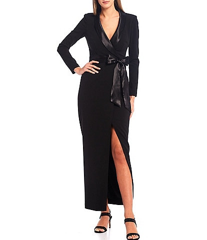 Eliza J Tuxedo Wrap Scuba Crepe Long Sleeve Gown With Front Slit
