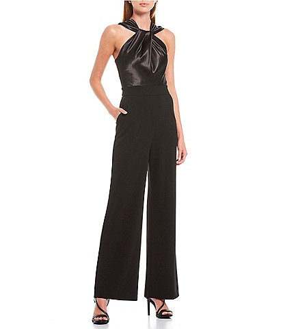 Eliza J Twist Neck Stretch Satin Crepe Jumpsuit