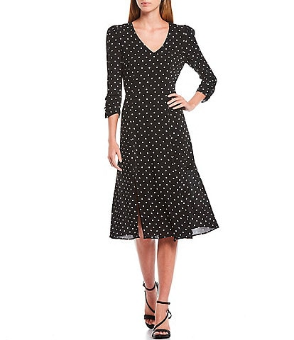Eliza J V-Neck 3/4 Sleeve Dotted Crepe Midi A-Line Dress