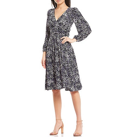Eliza J V-Neck 3/4 Sleeve Printed Jersey Dress