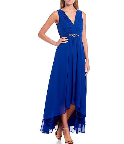 Eliza J V-Neck Sleeveless Belted Empire Waist Hi-Low Gown