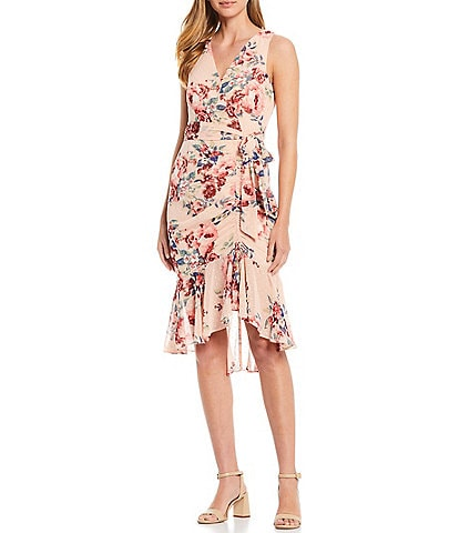 Eliza J V Neck Faux Wrap Dress