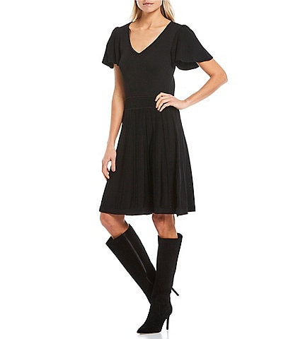 Eliza J V-Neck Short Flutter Sleeve A-Line Dress