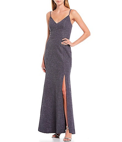 Eliza J V-Neck Sleeveless Glitter Knit Mermaid Gown