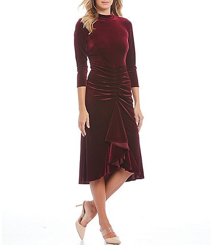 Eliza J Velvet Mock Neck Ruffle Ruched Detail Hi-Low Hem Midi Dress