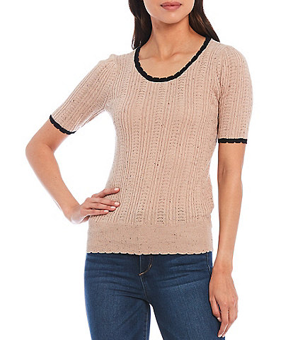 Ella Moss Cordelia Scallop Trim Sweater Top