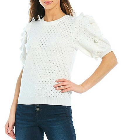 Ella Moss Eveline Ruffle Short Sleeve Crew Neck Novelty Sweater Top