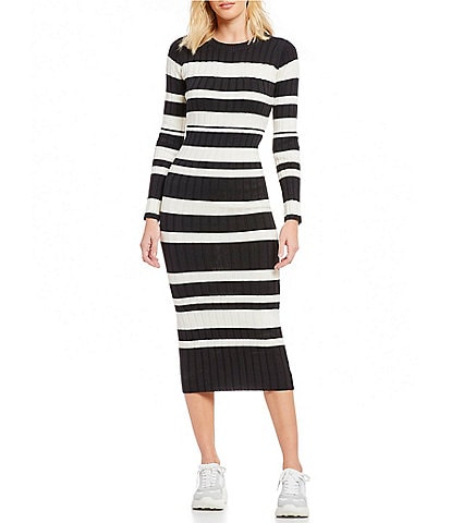 Ella Moss Striped Rib Knit Midi Length Sweater Dress