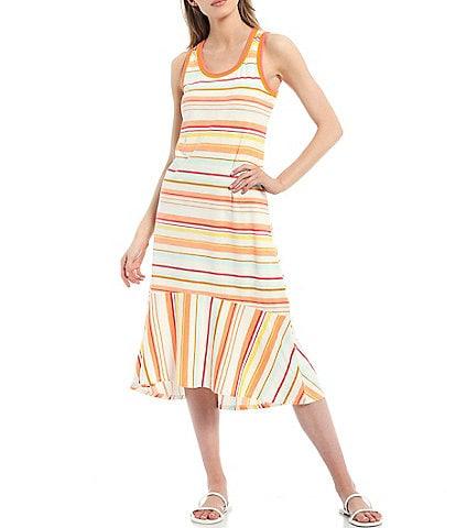 Ella Moss Sylvia Knit Stripe High-Low Midi Dress