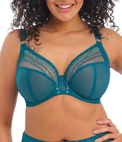 Elomi Plus Matilda Embroidered Sheer Plunge Convertible U-Back to Racerback Contour Wire Full-Busted Bra