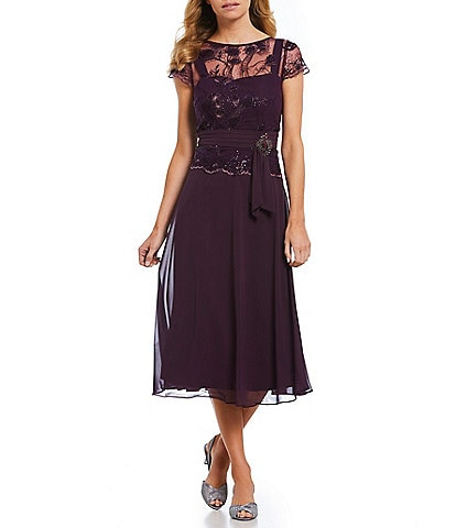 Emma Street Illusion Lace Mock 2-Piece Midi Dress