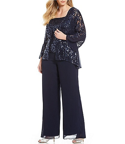 Emma Street Plus Size 3-Piece Sequin Lace Pant Set