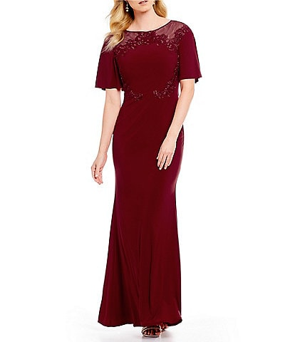 Emma Street Short Flutter Sleeve Embroidered Gown