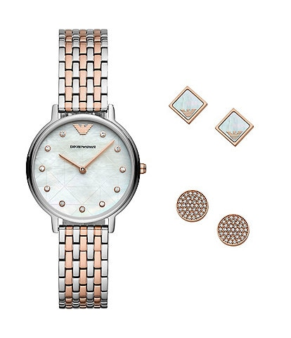 Emporio Armani Kappa Two-Tone Bracelet Watch Gift Set