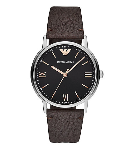 Emporio Armani Kappa Brown Leather Strap Watch