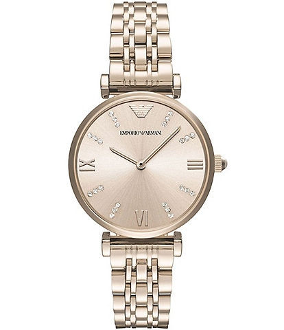 Emporio Armani Ladies Two-Hand Pastel Pink IP Stainless Steel Analog Watch