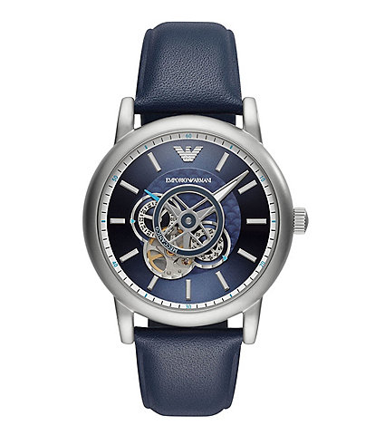 Emporio Armani Men's Automatic Blue Leather Watch