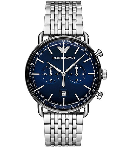 Emporio Armani Men's Blue Dial Quartz Chronograph Stainless Steel Watch