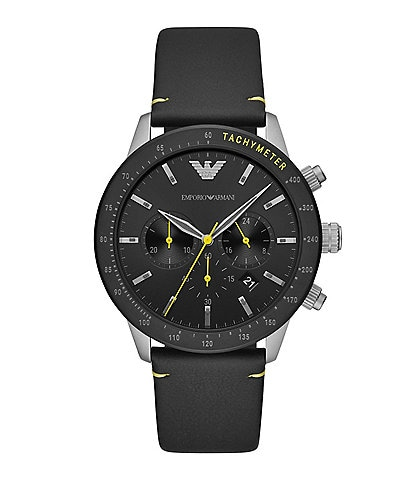Emporio Armani Men's Chronograph Black Leather Watch