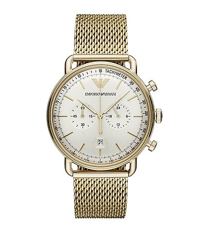 Emporio Armani Men's Chronograph Gold-Tone Stainless Steel Mesh Watch
