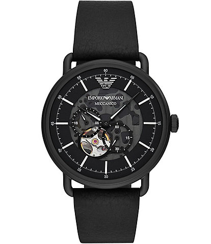 Emporio Armani Men's Multifunction Black Leather Watch