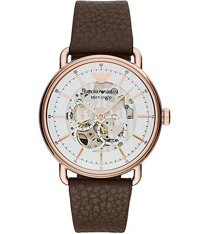 Emporio Armani Men's Multifunction Brown Leather Watch