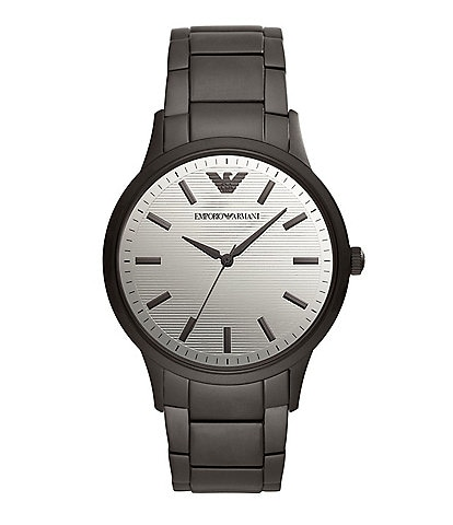 Emporio Armani Men's Quartz Analog Three-Hand Matte Black Stainless Steel Watch