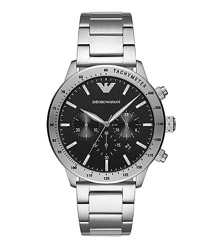 Emporio Armani Men's Quartz Chronograph Stainless Steel Black Dial Watch