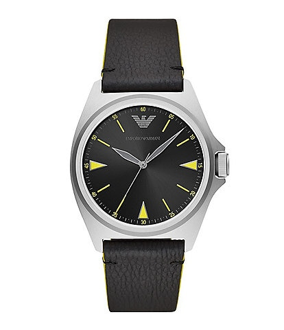 Emporio Armani Men's Three-Hand Black Leather Watch