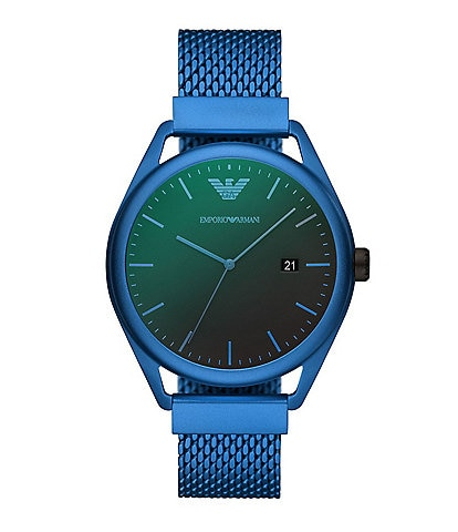 Emporio Armani Men's Three-Hand Date Matte Blue Aluminum Watch