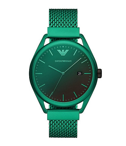 Emporio Armani Men's Three-Hand Date Matte Green Aluminum Watch