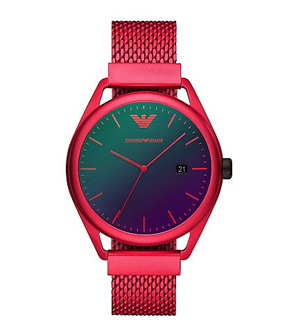 Emporio Armani Men's Three-Hand Date Matte Red Aluminum Watch
