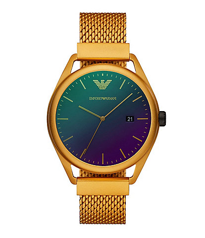 Emporio Armani Men's Three-Hand Date Matte Yellow Aluminum Watch