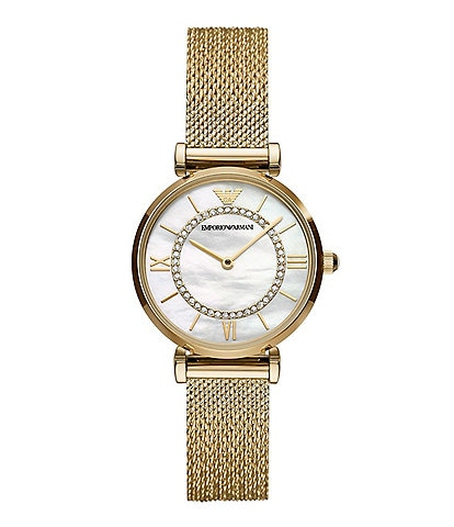 Emporio Armani Women's Two-Hand Gold-Tone Stainless Steel Mesh Watch