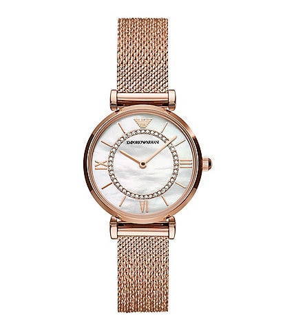 Emporio Armani Women's Two-Hand Rose Gold-Tone Stainless Steel Mesh Watch