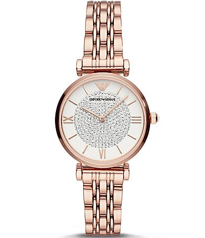 Emporio Armani Women's Pave Stone Two-Hand Rose Gold-Tone Stainless Steel Watch