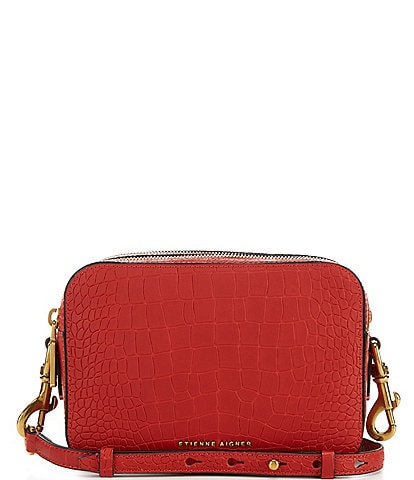 Etienne Aigner Adeline Crocodile Embossed Camera Crossbody Bag