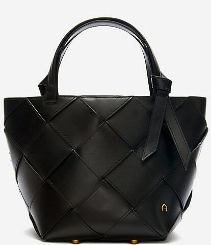 Etienne Aigner Ella Leather Woven Satchel Bag