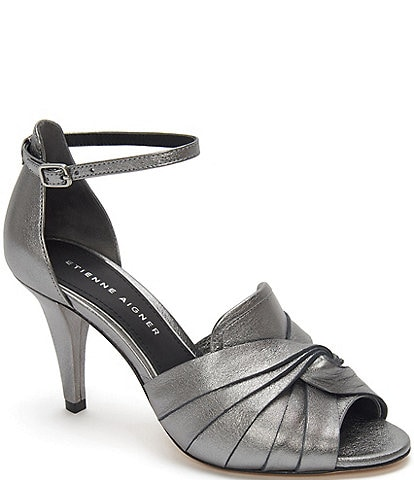 Etienne Aigner Sahari Metallic Leather Dress Sandals