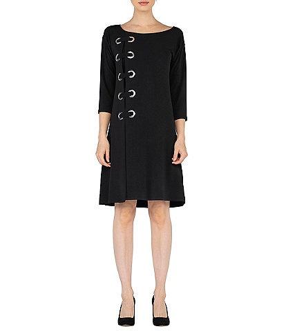 Eva Varro Boat Neck 3/4 Sleeve Side Grommet Dress