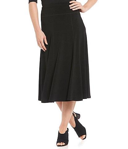 Eva Varro Flared Pull-On Midi Skirt